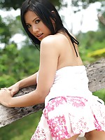 Busty Thai Cutie Nancy Ho Strips Dress Outdoors