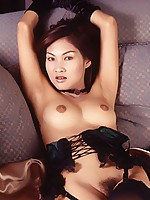 Nam Posing In Black Lingerie On Sofa