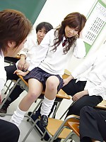 Sexy Japanese schoolgirl gets fucked hard by some students