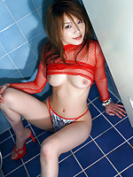 Yua Aida cute Asian babe in a red seethru top and panties