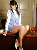 Yuka Kosaka cute office babe in a miniskirt and high heels