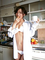 Deliciously petite asian chick is adorable in her one piece suit