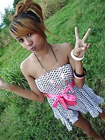 Emo Thai girlfriend Air has fun flashing outdoors before her creampie