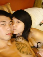 Chinese dude with tattoo bonking 2 chicks