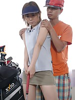 Golfing Japanese teenie gets cock and balls inside her slit