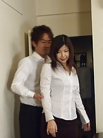 Busty Japanese teen girl sucking the boss his stiff cock