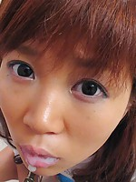 Japanese girl loves his big load in her cum hungry mouth