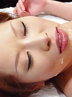 Dirty Japanese girl receives a big sticky load on her face