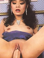 Charming retro seducing guy fucking an Asian milf bimbo