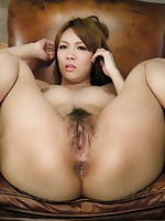 Horny Rei in gold lingerie toyed up both holes and facialized