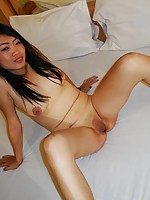 Shy Thai girl with sexy tits gets a nice big facial