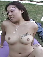 Chubby asian gets titty fucked