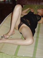 great spreading action in black sheer stockings fromthis long legged cutie