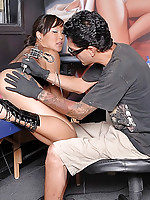 Big hot ass long leg asian babe gets drilled hard in her hot ass and pussy in these hot tatto parlor fucking pics