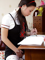 Marija masturbates to orgasm after school so she can concentrate on her home work