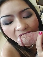 Pretty Thai sucks cock and gets a creampie
