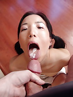 Petite Almond shows her skill at draining the balls and swallowing the load of a happy dude