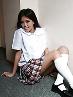 Shy white skinned schoolgirl flashing tight her hairy muff