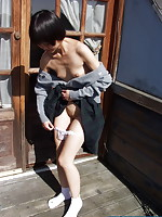 Skinny cutie stripping outdoors and flashing her neat shaved slit