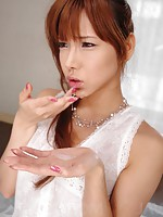 Serina Hayakawa Asian in white dress sucks dick and gets cum