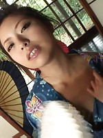 Gorgeous Japanese babe Hana fingers her own sweet slit