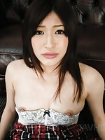 Riko Oshima Asian has pussy teased with brush and fucked then
