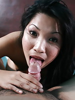 POV series of a hot girl giving head and having her bald pussy banged by the photographer