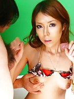 Rino Asuka Asian with juicy boobs gets lot of cum after sucking