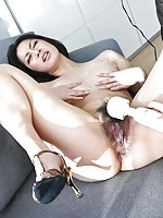 Cute Ishiguro Kyoka in white lingerie fingered and toyed