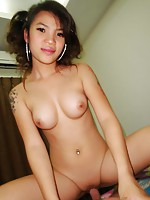 Pretty little Thai girl Pepe has some amazing perky tits. She takes a big creampie.
