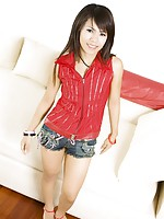 Tiny little Thai girl Aon strips from her red shirt and shorts