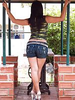 Asian girl Pancake flashes pussy in denim shorts outside