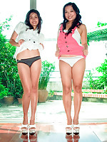 Two amateur Asian girlfriends strip naked together