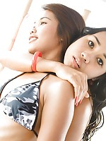Teen bikini fun with petite Asians Lily Koh and Joon Mali