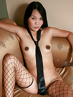 Ryl in black lingerie and fishnet stockings
