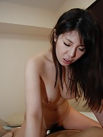 Big tit MILF babe Izumi Hori bounces her tits around as she joy rides on a hard cock.