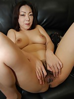 Big tit Japanese babe Yoriko Akiyoshi gets her mature pussy dripping wet as sex toys pleasure her pussy.
