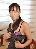 Cougar Japanese Rie Katano gets her pussy pleasured with sex toys and hard dick.