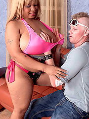 Big Lady Snow fucks blonde guy