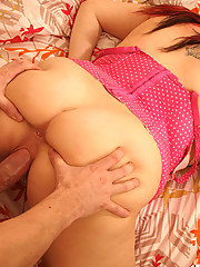 Simone gets caught rubbing her snatch in the fury of a masturbating frenzy and instead gets what she was wishing for, a thick throbbing cock.