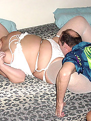 Kinky bald daddy bangs his plump wife with a whip