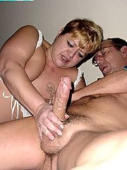 Fat mommy does footjob and gets banged hard