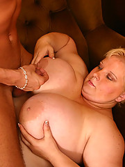 Obese mama takes cock from behind and eats cum
