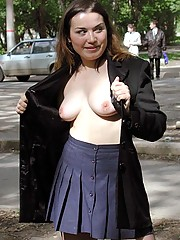 Young fat prankster flashes her tits in public