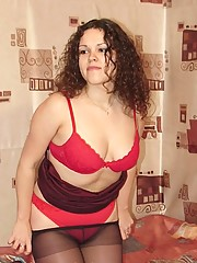 Young chubby posing in red lingerie