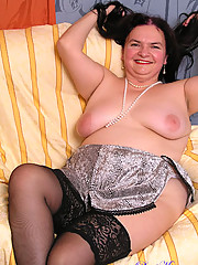 Horny slutty granny in black stockings