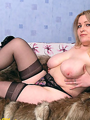 Mature BBW in black transparent lingerie