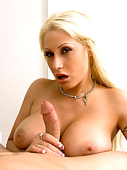 Gorgeous blonde rubs balls and tugs on cock