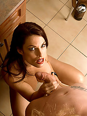 Seductive MILF fucks lucky stud in kitchen
