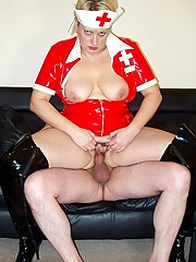 Latex nurse in boots sucking and fucking her patient